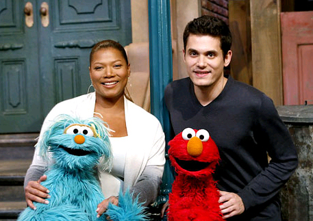 Sesame Street Characters with Queen Latifah and John Mayer